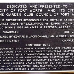 Fort Worth Botanic Garden Recognition and Dedication Plaque