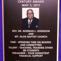 Southern Bible Institute Century Awards Rev. Robinson Recognition Plaque